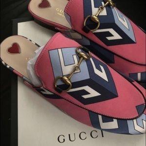 Gucci satin GG Retro Print Princetown